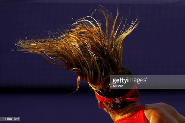 Daniela Hantuchova of Slovakia serves against Ana Ivanovic of Serbia during Day 7 at Crandon Park Tennis Center at the Sony Ericsson Open on March 25...