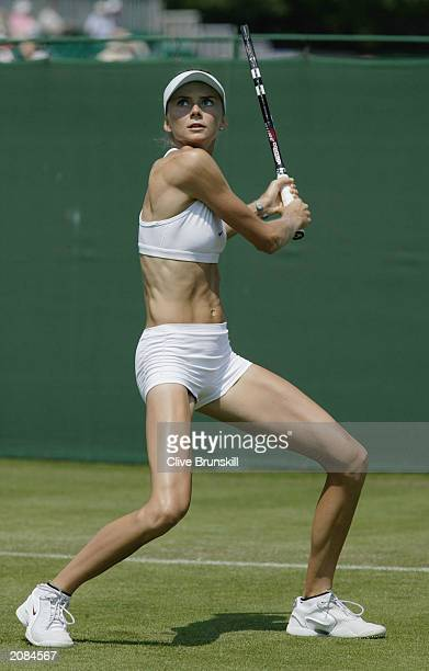 Daniela Hantuchova of Slovakia warms up on the practise courts during the first round of the Hastings Direct International Championships on June 16...
