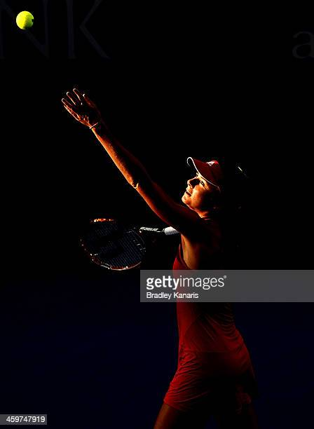 Daniela Hantuchova of Sovlakia serves against Ashleigh Barty of Australia during day two of the 2014 Brisbane International at Queensland Tennis...
