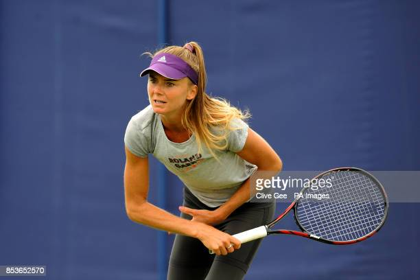 Daniela Hantuchova on the practice courts during the AEGON International at Devonshire Park Eastbourne