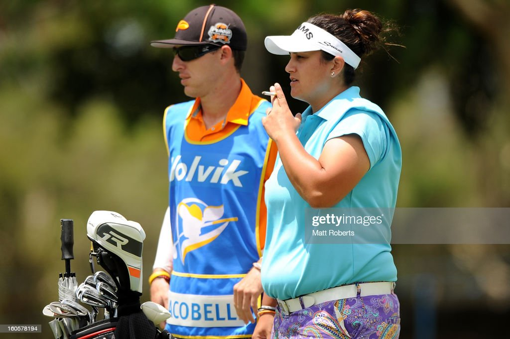 Daniela Iacobelli of the United States smokes a cigarette on the 3rd fairway during the Australian Ladies Masters at Royal Pines Resort on February 3, 2013 on the Gold Coast, Australia.