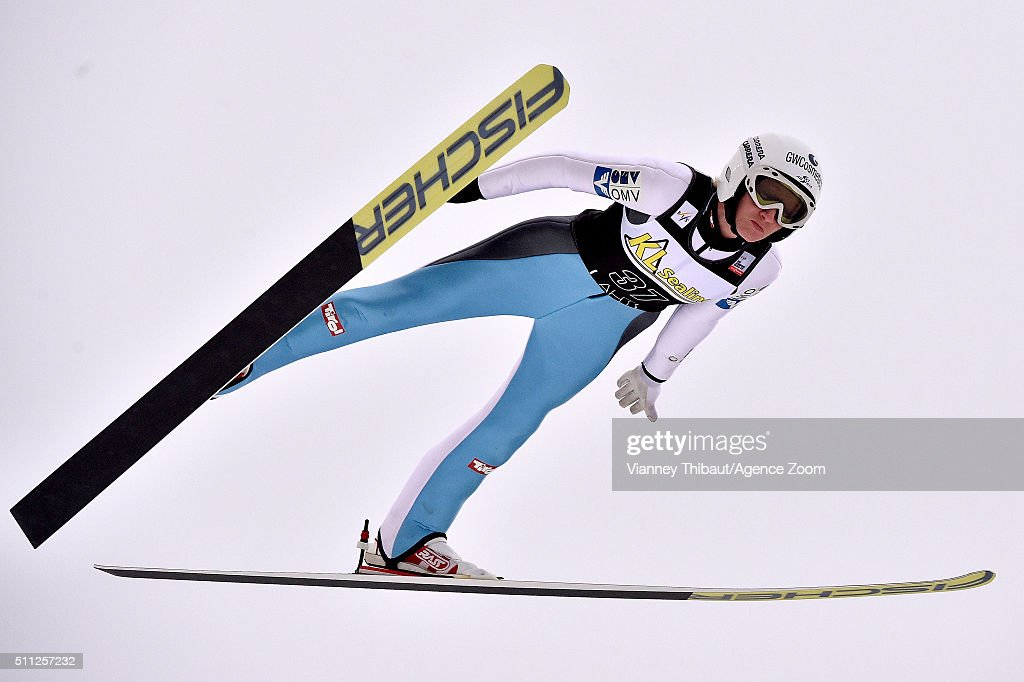 Daniela Iraschko-Stolz of Austria competes during the FIS Nordic World Cup Women's Ski Jumping HS100 on February 19, 2016 in Lahti, Finland.