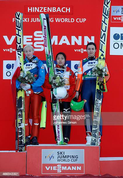 Daniela IraschkoStolz of Austria Sara Takanashi of Japan and Maja Vtic of Slovenia participate in the award ceremony of the Normal Hill Individual...