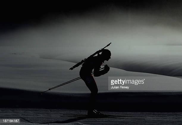 Daniela Kadeva of Bulgaria skis in the Women's 75km Pursuit Biathlon during the Winter Youth Olympic Games on January 16 2012 in Seefeld Austria