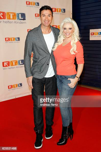 Daniela Katzenberger and her husband Lucas Cordalis arrive for the RTL Telethon TV show on November 24 2016 in Cologne Germany The telethon is held...