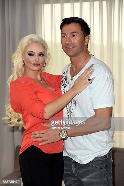 Daniela Katzenberger and Lucas Cordalis attend the 'Daniela Katzenberger Mit Lucas im Hochzeitsfieber' Photo Call on May 23 2016 in Cologne Germany