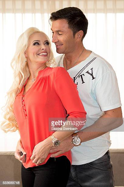 Daniela Katzenberger and Lucas Cordalis pose during the photocall 'Daniela Katzenberger Mit Lucas im Hochzeitsfieber' at Hyatt on May 23 2016 in...