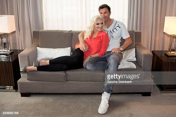 Daniela Katzenberger and Lucas Cordalis pose during the photocall 'Daniela Katzenberger Mit Lucas im Hochzeitsfieber' at Hyatt on May 23 2016 in...