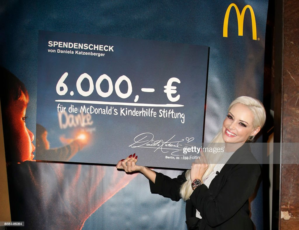 Daniela Katzenberger during the Festival of Lights at Humboldt University on October 6, 2017 in Berlin, Germany. From October 6 till October 15 there will be a light installation on the front of the Humboldt University in Berlin along with other installations around the City. McDonald's Germany celebrates the 30th anniversary of the Ronald McDonald House Charities in Germany.