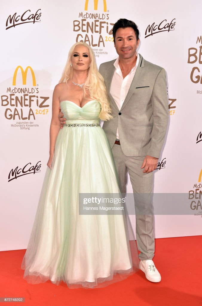 Daniela Katzenberger in a dress of Unique and her husband Lucas Cordalis during the McDonald's charity gala at Hotel Bayerischer Hof on November 10, 2017 in Munich, Germany.