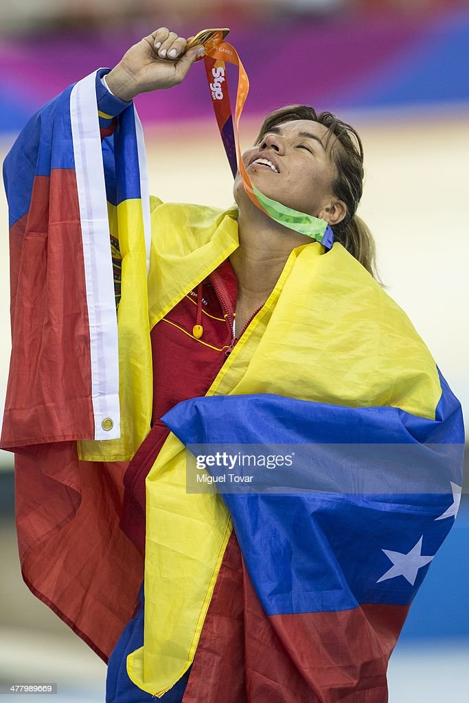 Daniela Larreal of Venezuela reacts after winning the gold medal in women's sprint as part of day five of the X South American Games Santiago 2014 at Penalolen Velodrome on March 11, 2014 in Santiago, Chile.