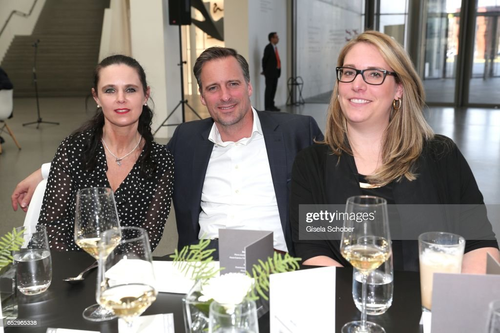Daniela Lindl, Thomas Muenster (Muenchner Bank) and Livia Gamberger during the Gentlemen Art Lunch at Pinakothek der Moderne on March 13, 2017 in Munich, Germany.