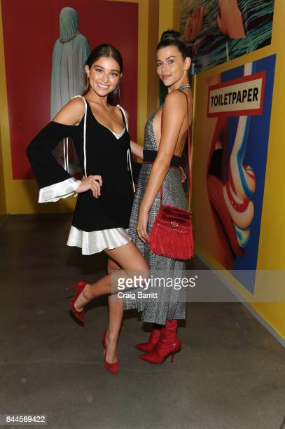 Daniela Lopez and Georgia Fowler attend Art Commerce The Exhibition opening at Skylight Modern on September 8 2017 in New York City