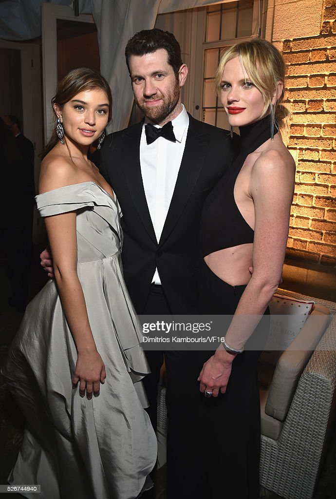 Daniela Lopez, Billy Eichner and Anne Vyalitsyna attend the Bloomberg & Vanity Fair cocktail reception following the 2015 WHCA Dinner at the residence of the French Ambassador on April 30, 2016 in Washington, DC.