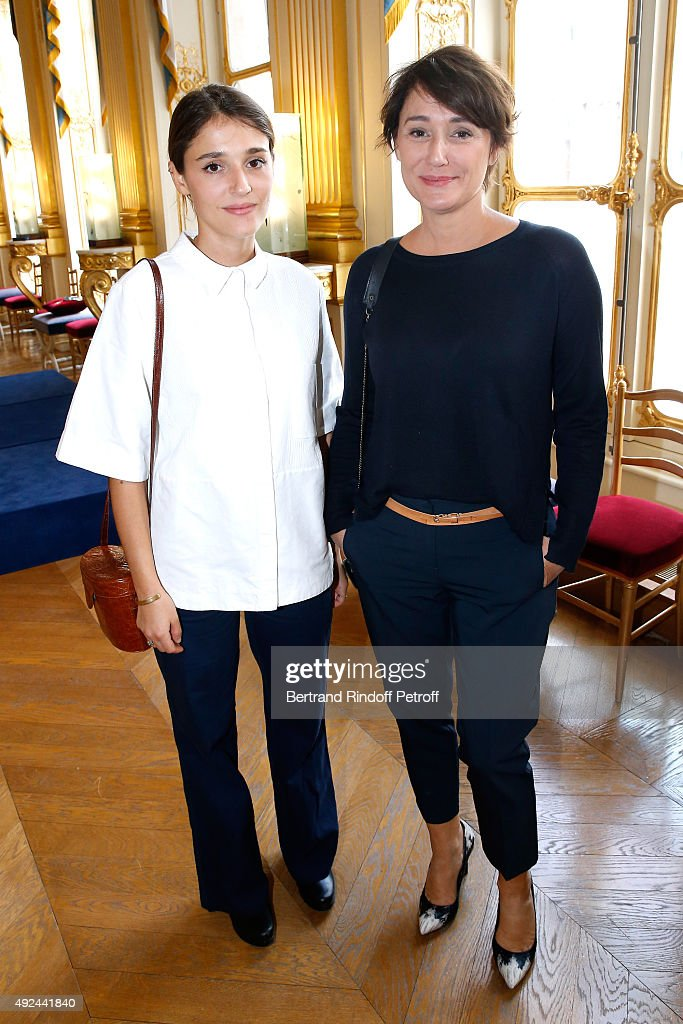 Daniela Lumbroso (R) and her daughter Actress Lola Bessis (L) attend Actor Harvey Keitel receives the Medal of Commander of Arts and Letters at Ministere de la Culture on October 13, 2015 in Paris, France.