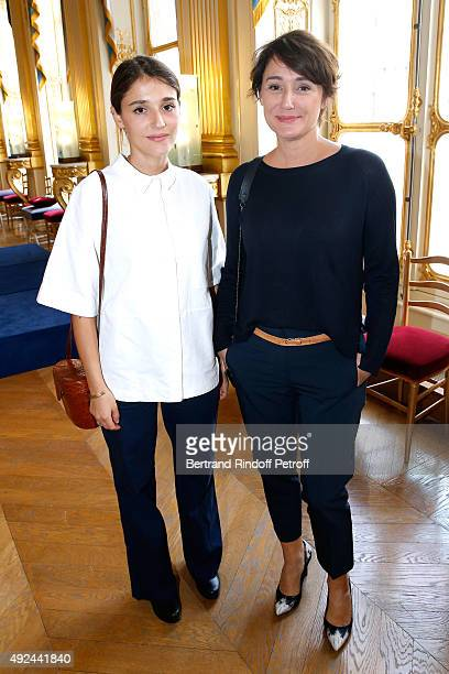 Daniela Lumbroso and her daughter Actress Lola Bessis attend Actor Harvey Keitel receives the Medal of Commander of Arts and Letters at Ministere de...