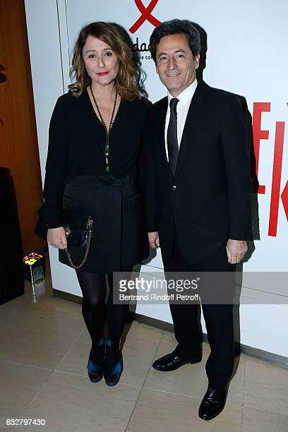 Daniela Lumbroso and her husband Eric Ghebali attend the Sidaction Gala Dinner 2017 Haute Couture Spring Summer 2017 show as part of Paris Fashion...
