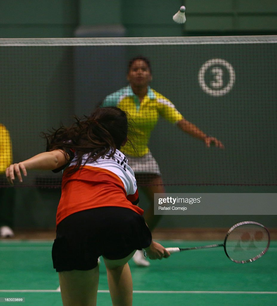 Daniela Macias of Perœu makes a shot during her women's badminton final match as part of the I ODESUR South American Youth Games on September 27, 2013 in Lima, Peru.
