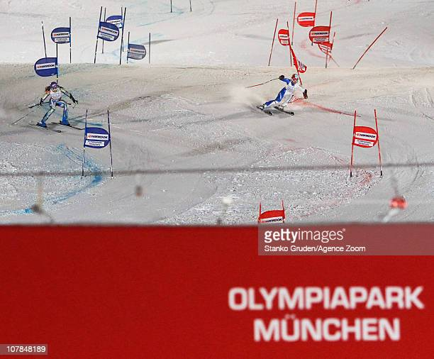 Daniela Merighetti of Italy and Tina Maze of Slovenia takes 2nd place during the Audi FIS Alpine Ski World Cup Men's and Women's Parallel Slalom on...