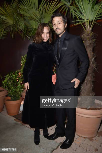 Daniela Michel and Diego Luna attend Fondazione Prada Private Dinner during the 70th annual Cannes Film Festival at Restaurant Fred L'Ecailler on May...