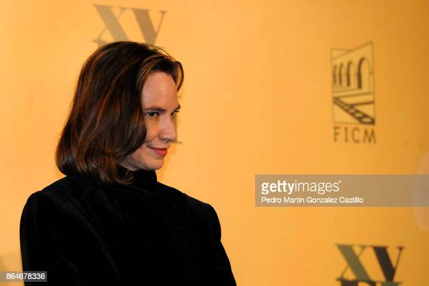 Daniela Michel director of the Festival poses from the red carpet during the Inauguration of the XV Morelia International Film Festival on October 20...