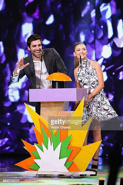 Daniela Nieves speaks on stage during the Nickelodeon Kids' Choice Awards Mexico 2015 at Auditorio Nacional on August 15 2015 in Mexico City Mexico