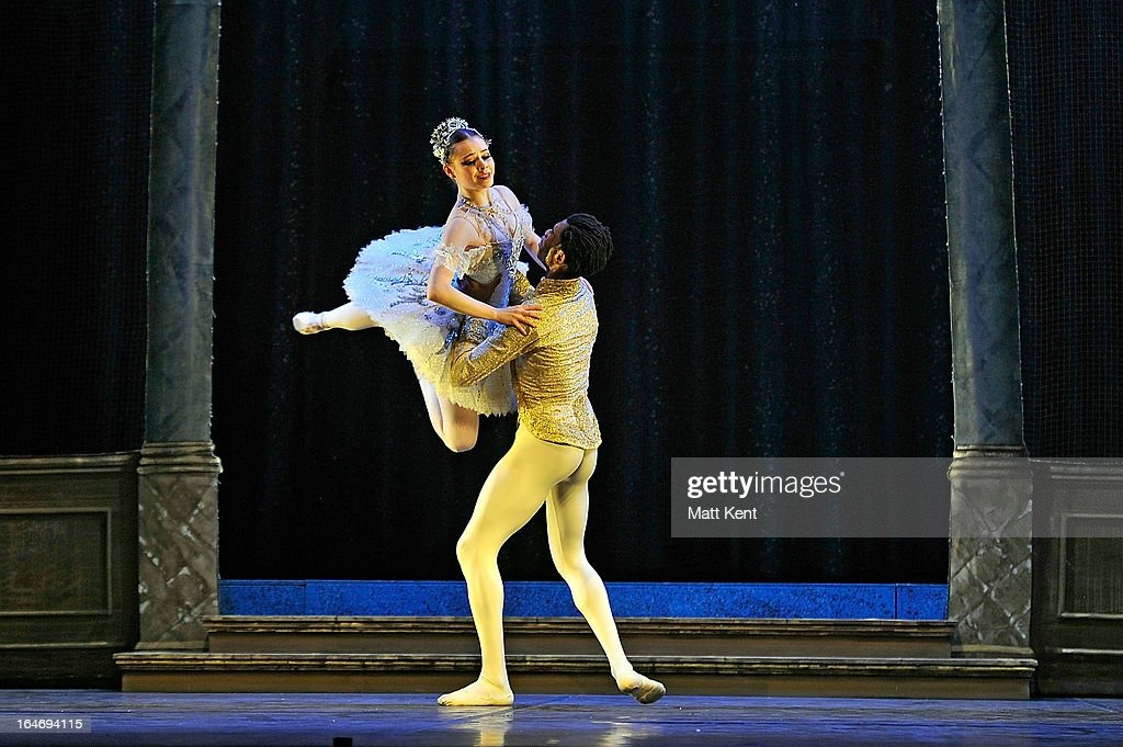 Daniela Oddi (L) and Mlindi Kulashe perform as Cinderella and the Prince during the dress rehearsal for the English National Ballet's 'My First Cinderella' at The Peacock Theatre on March 26, 2013 in London, England.