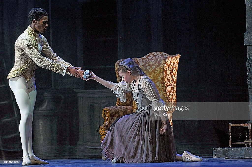 Daniela Oddi (R) and Mlindi Kulashe perform as Cinderella and the Prince during the dress rehearsal for the English National Ballet's 'My First Cinderella' at The Peacock Theatre on March 26, 2013 in London, England.