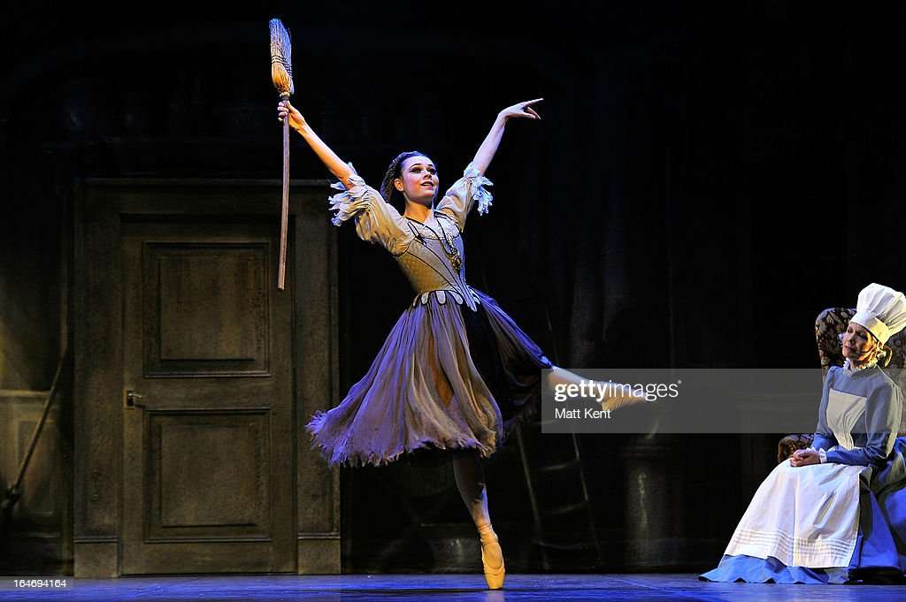 Daniela Oddi (L) as Cinderella and Jane Wymark as the Narrator perform during the dress rehearsal for the English National Ballet's 'My First Cinderella' at The Peacock Theatre on March 26, 2013 in London, England.