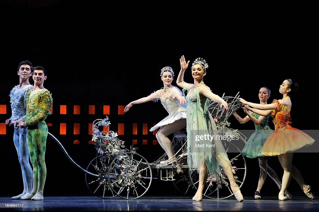 Daniela Oddi as Cinderella sets off for the ball during the dress rehearsal for the English National Ballet's 'My First Cinderella' at The Peacock Theatre on March 26, 2013 in London, England.
