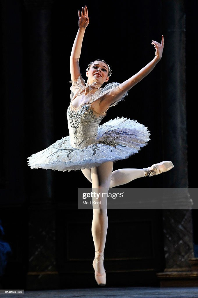 Daniela Oddi performs as Cinderella during the dress rehearsal for the English National Ballet's 'My First Cinderella' at The Peacock Theatre on March 26, 2013 in London, England.