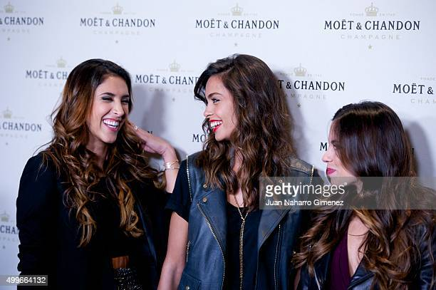 Daniela Ospina Joana Sanz and Melissa Jimenez attend 'Moet Chandon' party at Circulo de Bellas Artes on December 2 2015 in Madrid Spain