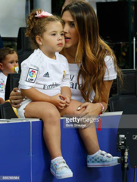 Daniela Ospina wife of James Rodriguez of Real Madrid and their daughter Salome Rodriguez Ospina attend the Champions League final match between Real...
