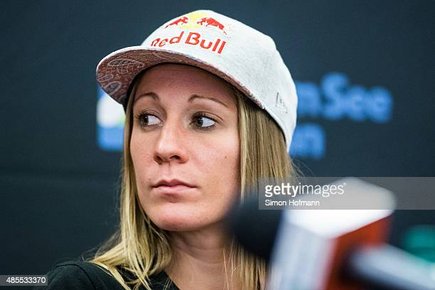 Daniela Ryf of Switzerland attends the prerace press conference at Tauern Spa on August 28 2015 in Zell am See Austria