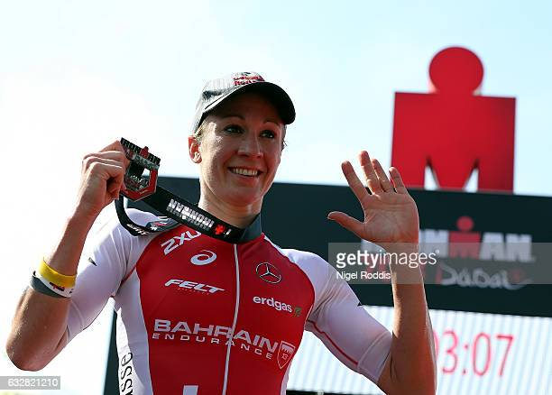 Daniela Ryf of Switzerland celebrates winning the womens race at Ironman 703 Dubai on January 27 2017 in Dubai United Arab Emirates