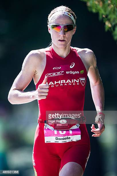 Daniela Ryf of Switzerland competes in the running during the Ironman 703 World Championship Zell am See Kaprun on August 30 2015 in Zell am See...