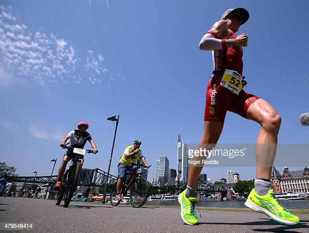 Daniela Ryf of Switzerland during the run section of Ironman European Championships Frankfurt on July 5 2015 in Frankfurt am Main Germany