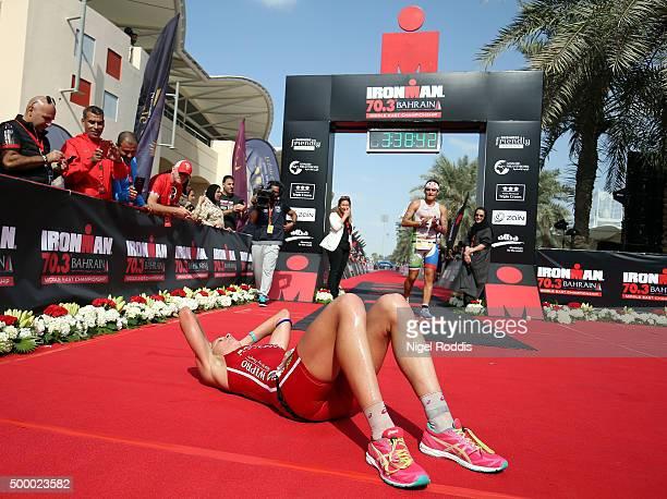 Daniela Ryf of Switzerland reacts after winning the Triple Crown and 0ne million dollars on winning Ironman Bahrain on December 5 2015 in Bahrain...