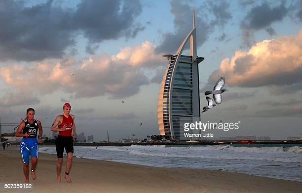 Daniela Ryf of Switzerland runs to transition enroute to winning the Women's IRONMAN 703 Dubai on January 29 2016 in Dubai United Arab Emirates