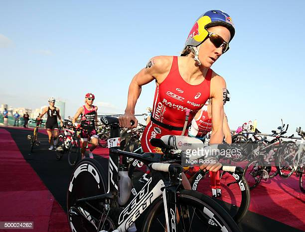 Daniela Ryf of Switzerland starts the bike section of Ironman Bahrain on December 5 2015 in Bahrain Bahrain