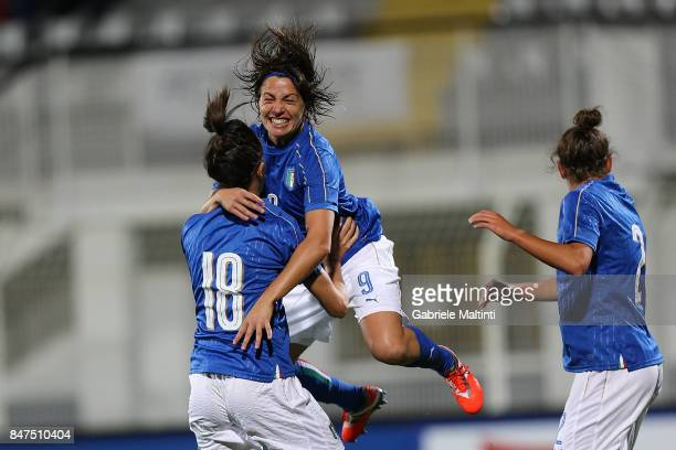 Daniela Sabatino of Italy celebrates after scoring a goal during the 2019 FIFA Women's World Cup Qualifier between Italy Women and Moldova Women at...