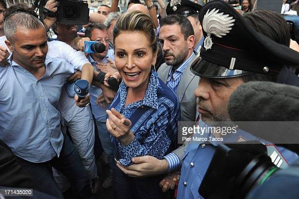 Daniela Santanche a member of the People of Liberty party speaks to the media after the Silvio Berlusconi was sentenced to seven years in prison...