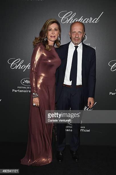 Daniela Santanche and Alessandro Sallusti arrive to the Chopard Backstage Dinner Afterparty at the CannesMandelieu Aerodrome during the 67th Annual...