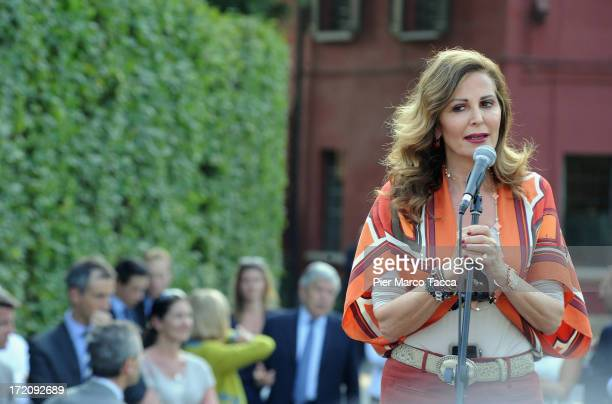 Daniela Santanche attends Italy's former Prime Minister Silvio Berlusconi and leader of People of freedom political party in front of Berlusconi...
