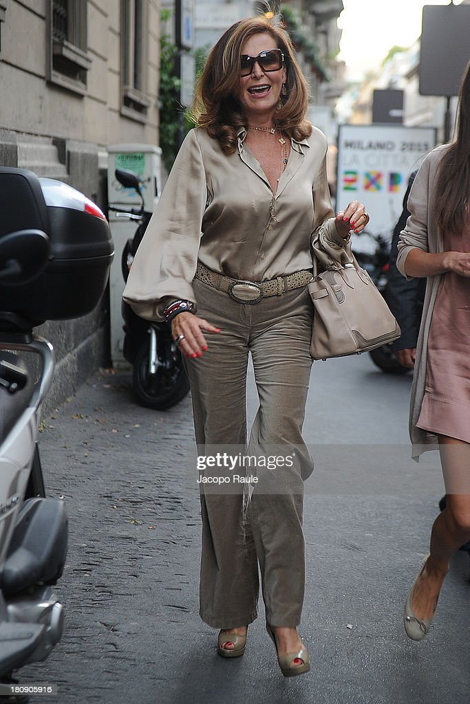 <a gi-track='captionPersonalityLinkClicked' href=/galleries/search?phrase=Daniela+Santanche&family=editorial&specificpeople=643237 ng-click='$event.stopPropagation()'>Daniela Santanche</a> is seen during The Milan Vogue Fashion Night Out on September 17, 2013 in Milan, Italy.