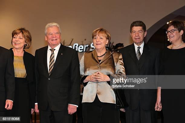 Daniela Schadt Joachim Gauck Angela Merkel and her husband Prof Joachim Sauer Eva Vosskuhle during the opening concert of the Elbphilharmonie concert...
