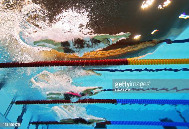 Daniela Schulte of germany Naomi Ikinaga of Japan and Nadia Baez of Argentina compete in the Women's 400m Freestyle S11 heat 2 on day 9 of the London...