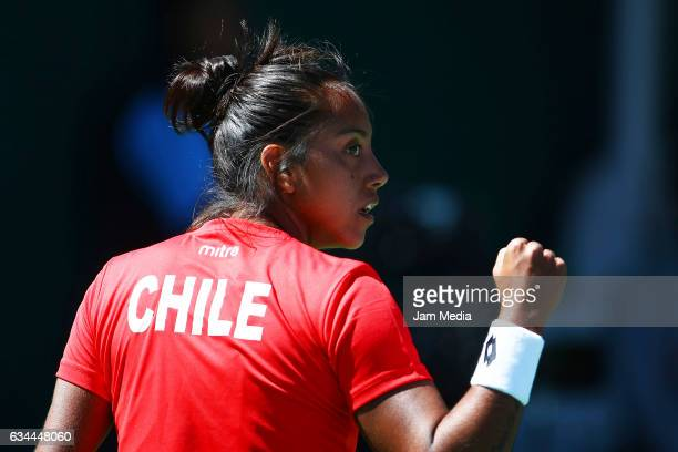 Daniela Seguel of Chile celebrates after wining a point during the fourth day of the Tennis Fed Cup American Zone Group 1 at Club Deportivo La...