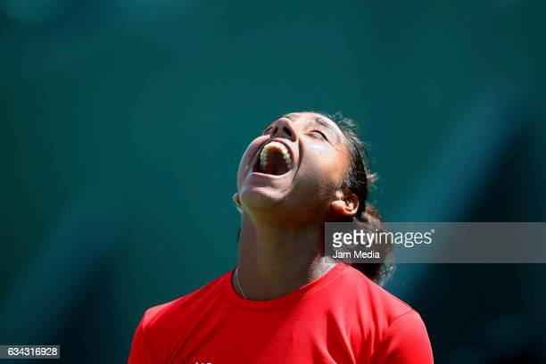 Daniela Seguel of Chile reacts during the third day of the Tennis Fed Cup American Zone Group 1 at Club Deportivo La Asuncion on February 08 2017 in...