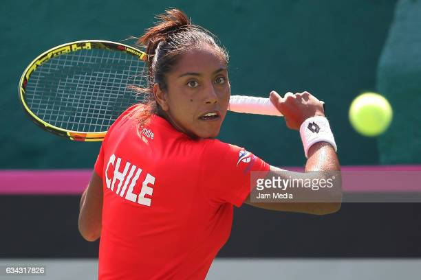 Daniela Seguel of Chile takes a shot during the third day of the Tennis Fed Cup American Zone Group 1 at Club Deportivo La Asuncion on February 08...